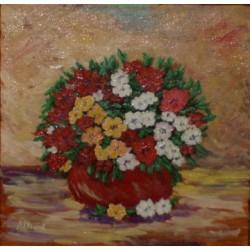 Jarrón flores rojas 30x30