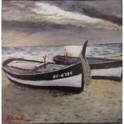 Barco en la playa 30x30