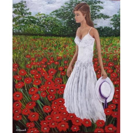 Mujer en campo flores rojas 100X80