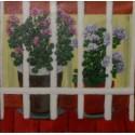Cuadro ventana Geranios Altisent 50x50