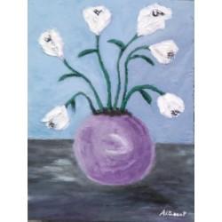 Jarron flor abstracta 40x30