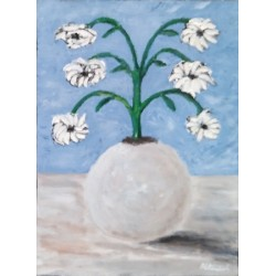 Jarron flores abstractas 50x40