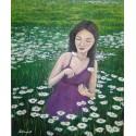 Cuadro mujer en campo de flores Altisent 60x50