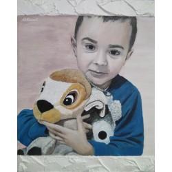 Niño con peluche 40x50