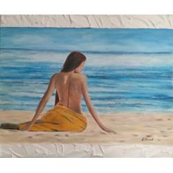 Cuadro mujer en la playa 50x60