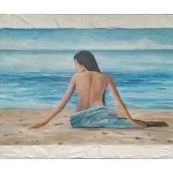 Mujer en la playa 40x50