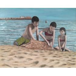Niños en la playa 80x100