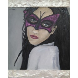 Cuadro mujer mascara mariposa Altisent 50x40