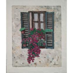 Cuadro ventana flores Altisent 60x50