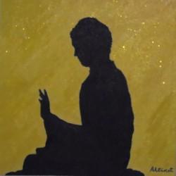 Cuadro silueta buda sentado fondo amarillo