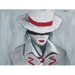 Cuadro mujer sombrero Altisent 50x40