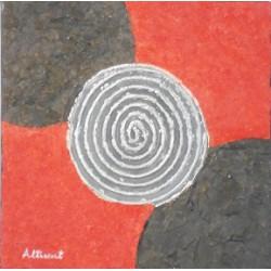 Abstracto espiral rojo negro