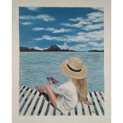 Cuadro mujer en la playa 80 x 65