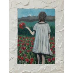 Mujer en campo de flores