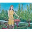 Cuadro Mujer con bici flores Altisent 50X60