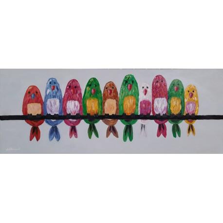 Cuadro Pajaros  de colores Altisent 35x90