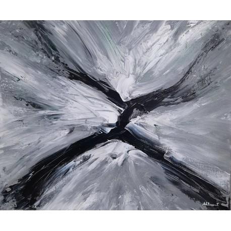 Cuadro abstracto anchas negro y blanco Altisent 40x50