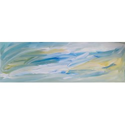 Cuadro abstracto manchas verde turquesa Altisent  50x150