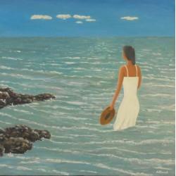 chica en la mar