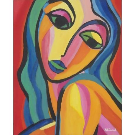 mujer joven cabello largo multicolor