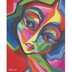 mujer joven multicolor